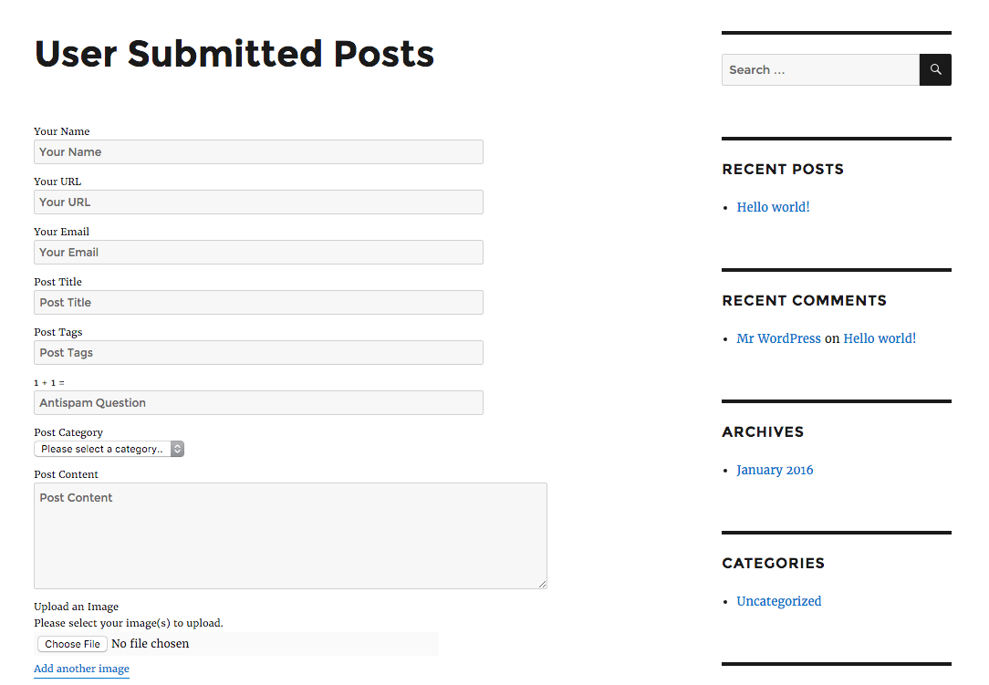 An user post-submission form.