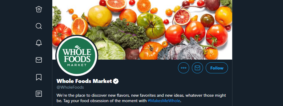 Whole Foods Market's Twitter account.