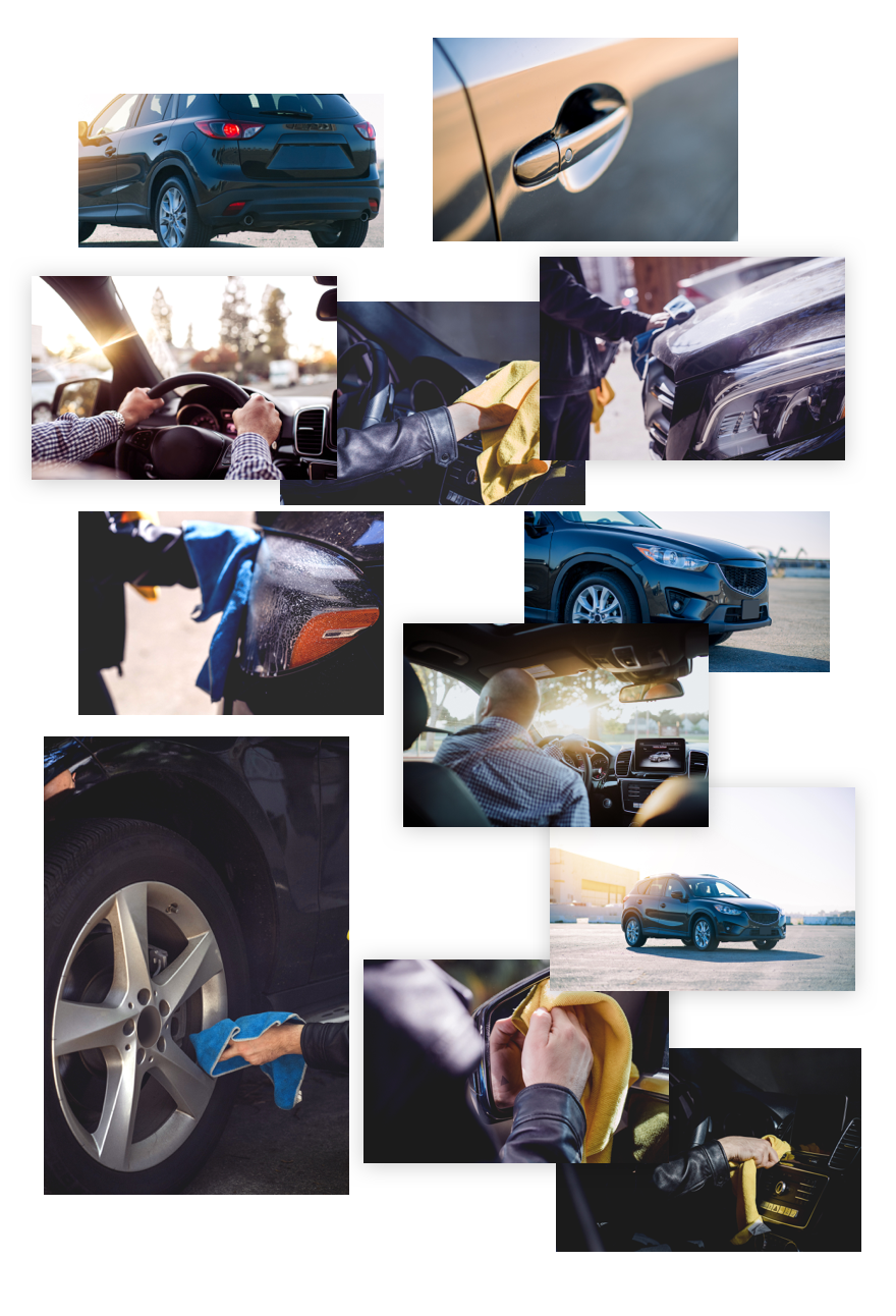 car detailing layout collage