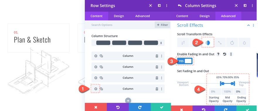 steps to a process scroll effects