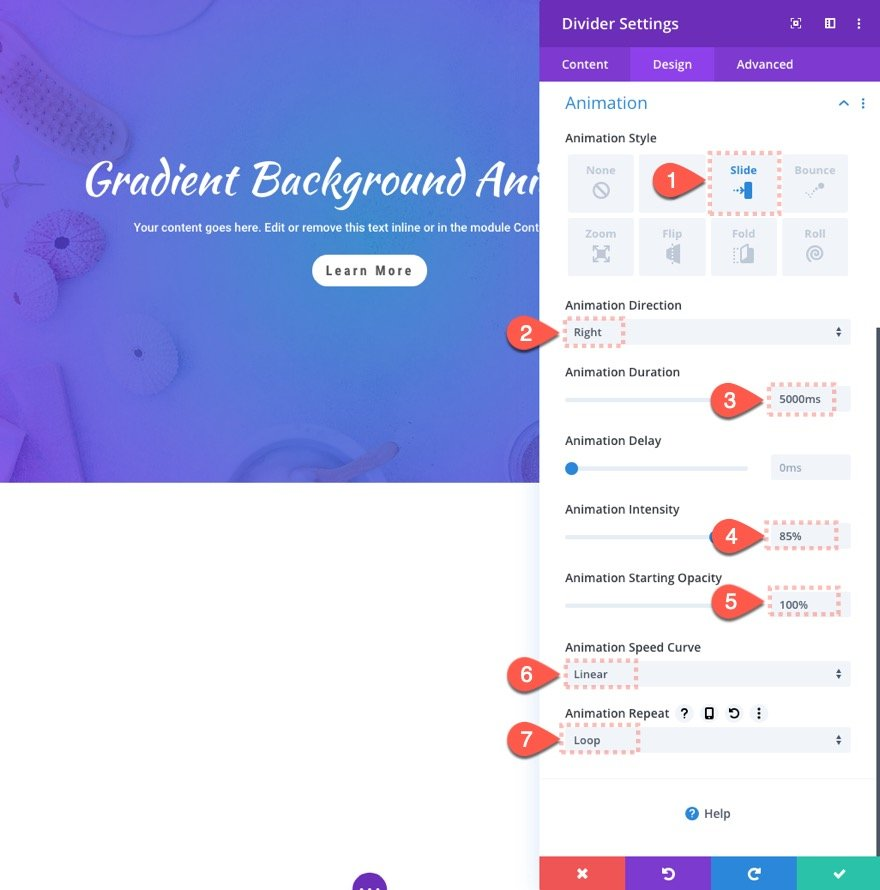 Divi Gradient Background Animation