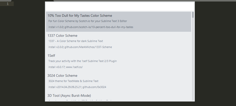 A list of avaliable Sublime Text packages.
