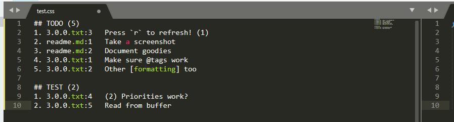 A to-do list output.