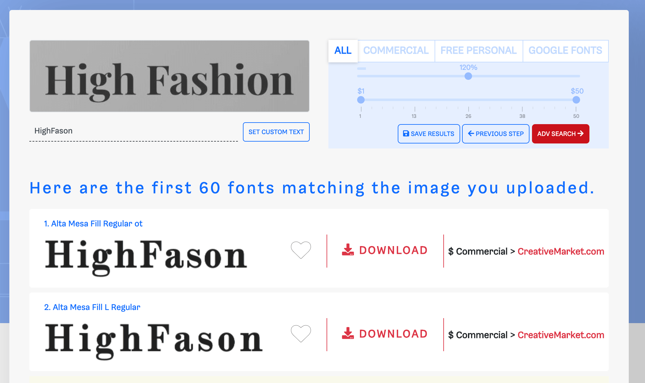 Results from What Font Is.