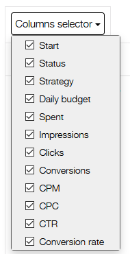 dropdown columns selector for ad campaigns