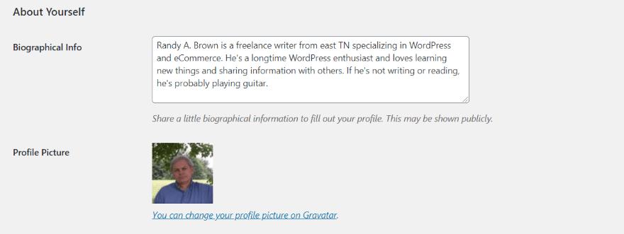 The Default WordPress Author Box