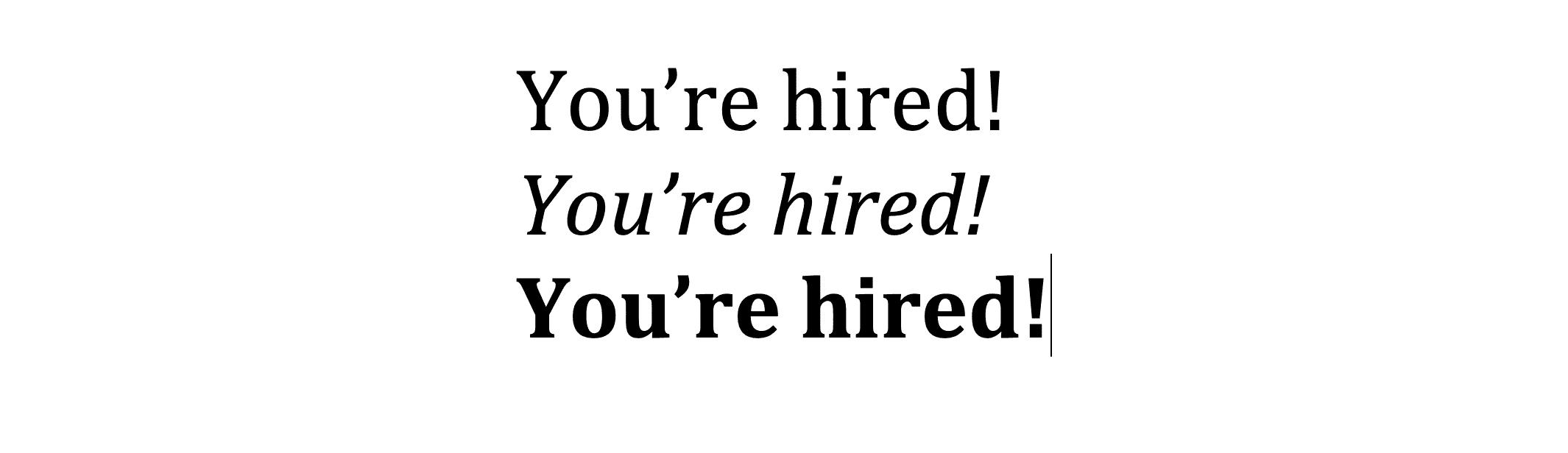 Cambria font example text.