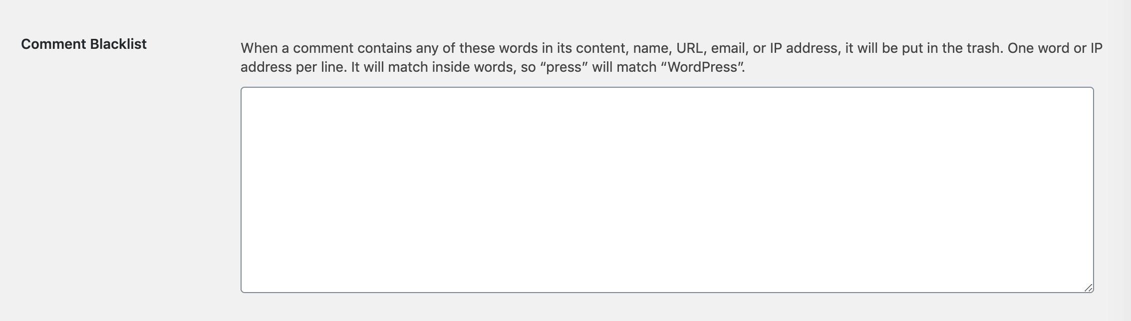 The Comment Blacklist setting in WordPress.