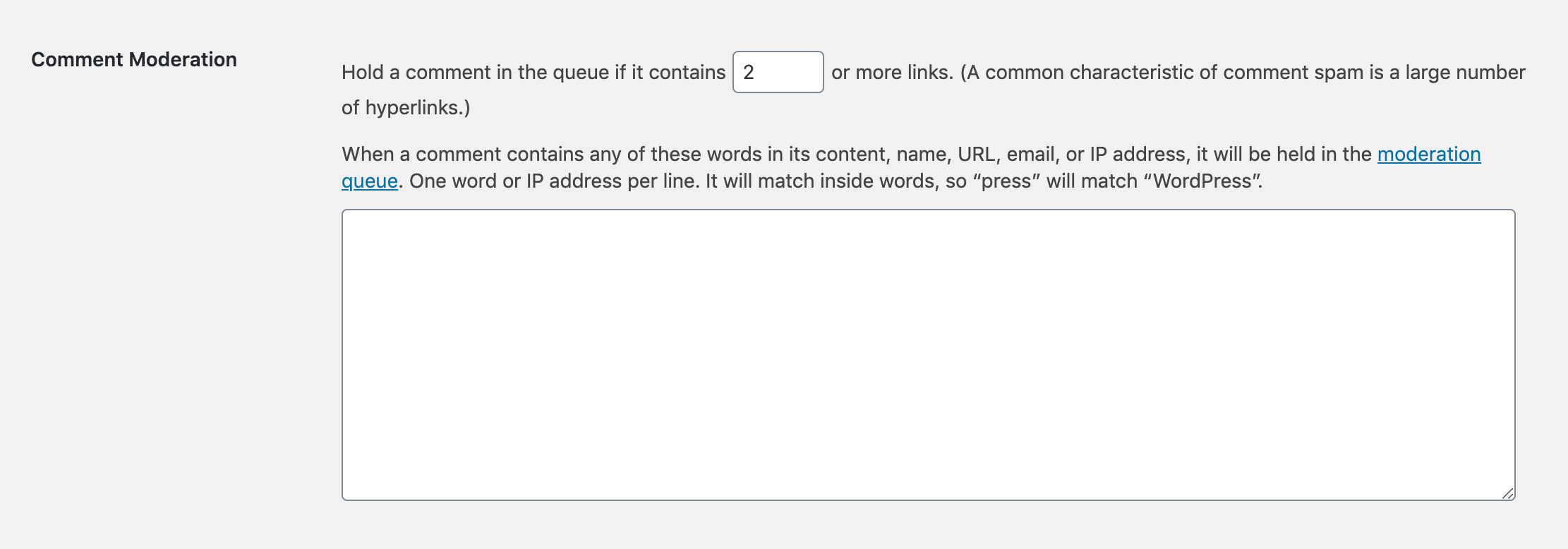 The Comment Moderation settings in WordPress.