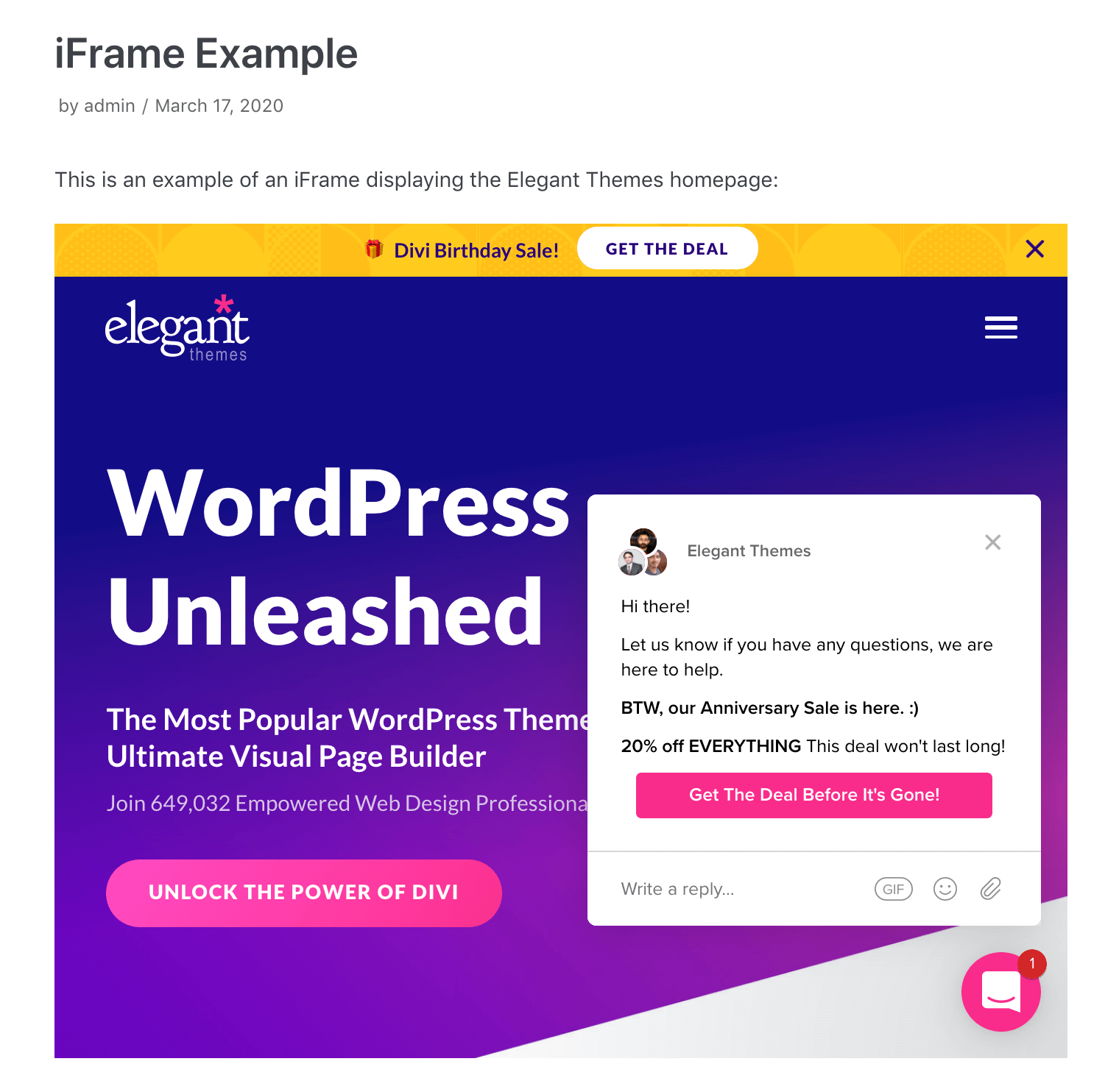 An example of a simple iFrame displaying the Elegant Themes homepage.