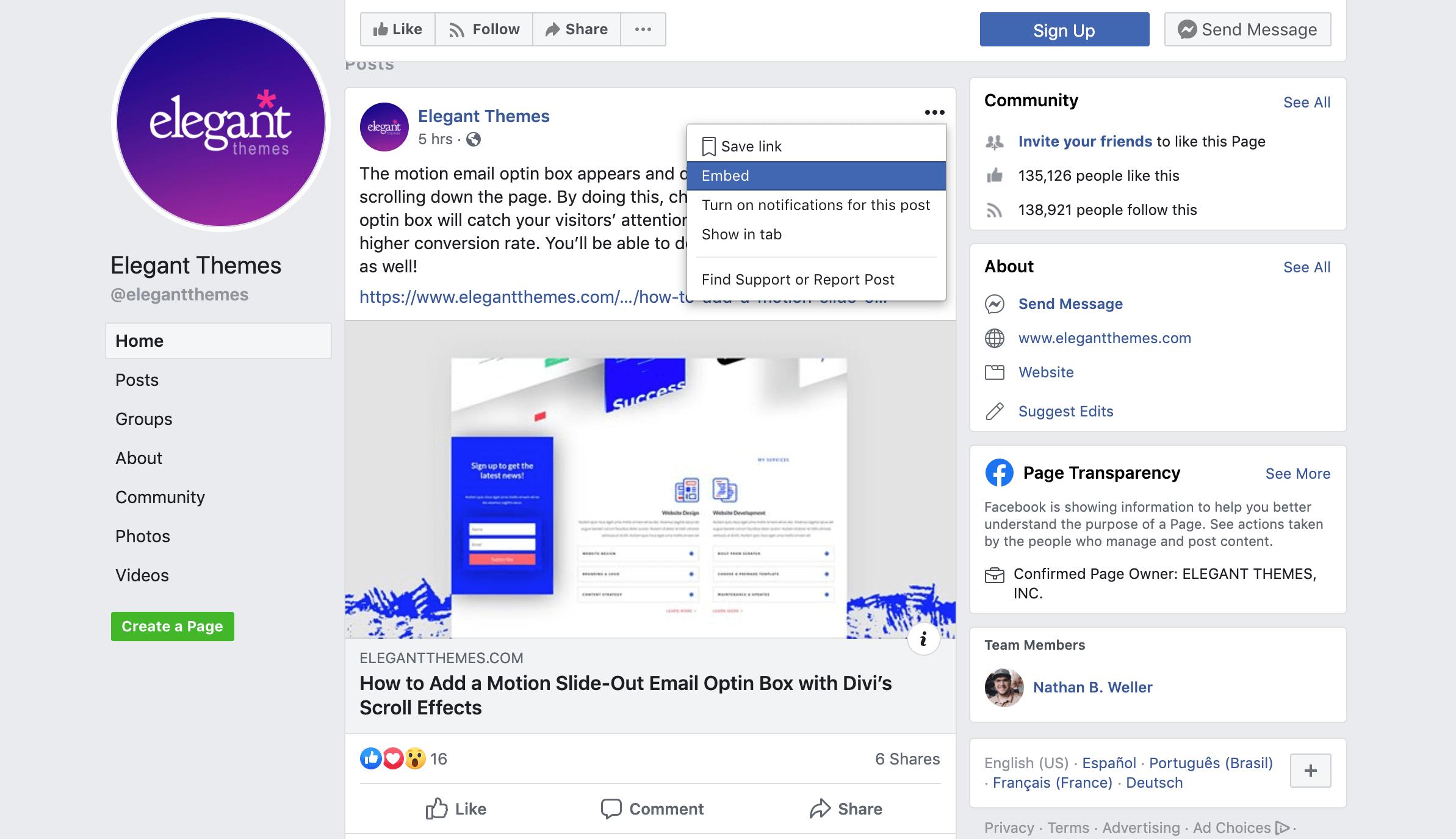 Retrieving a Facebook post's embed code.