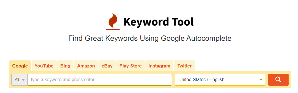 The Keyword Tool homepage.