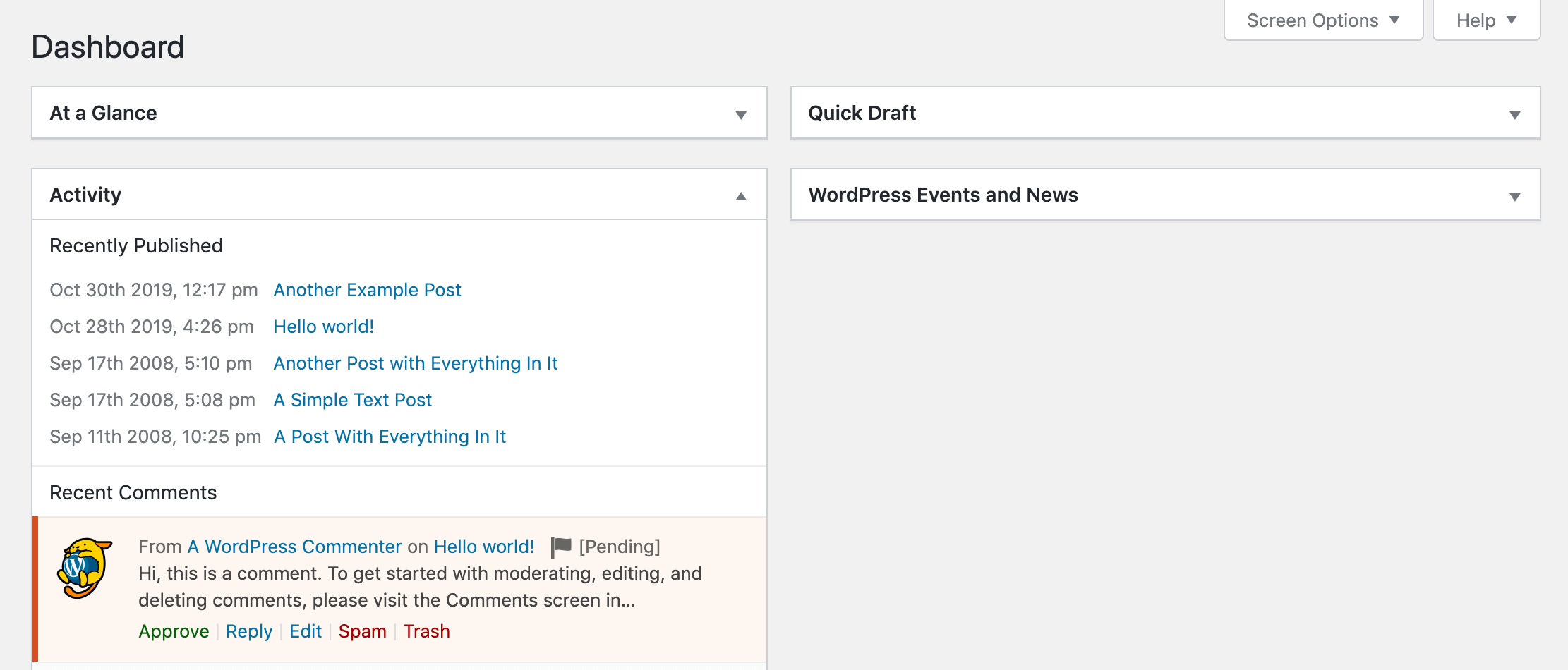 A pending comment in the WordPress dashboard.