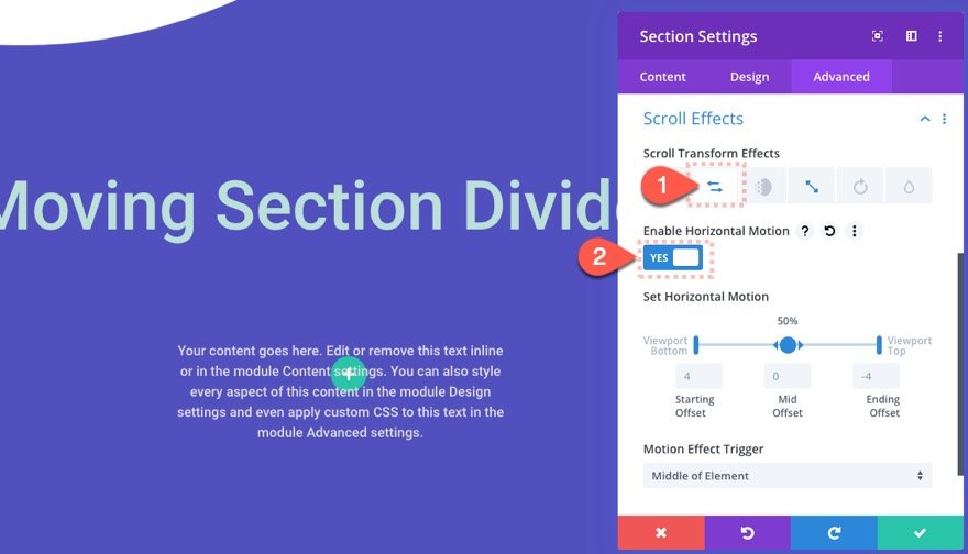 divi section divider scroll effects