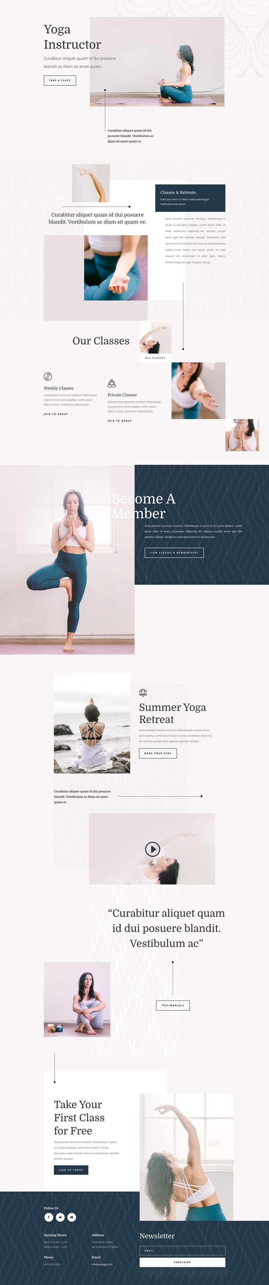 Divi yoga instructor layout