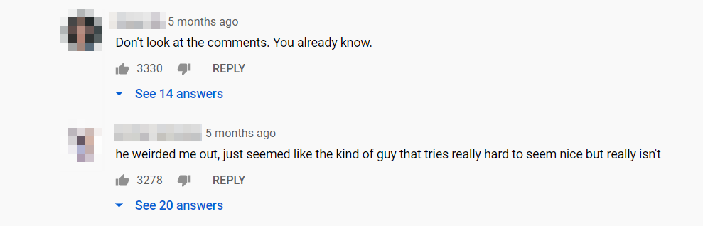 An example of a YouTube comments section.