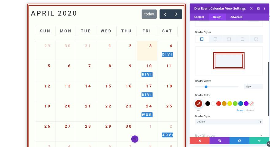 Divi Event Calendar View Module