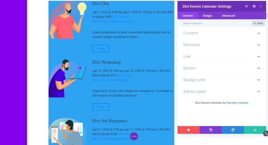 Divi Events Calendar Module Content Tab
