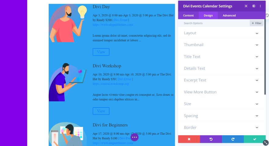 Divi Events Calendar Module Design Tab