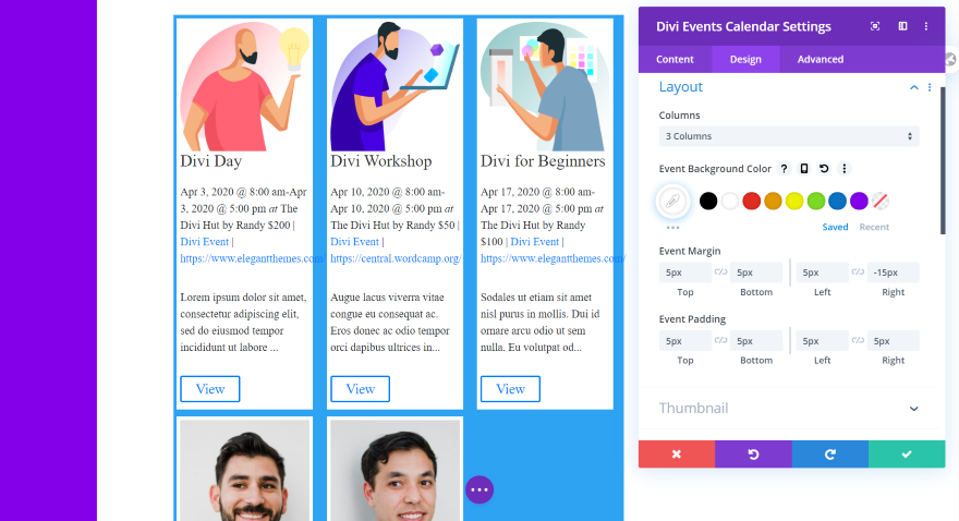 Divi Events Calendar Module Layout