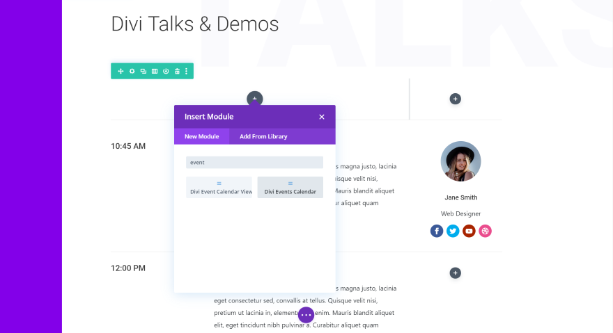 Divi Events Calendar Module
