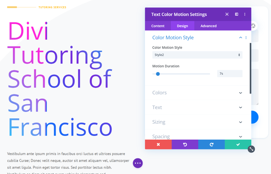 Divi Next Texts Text Color Motion
