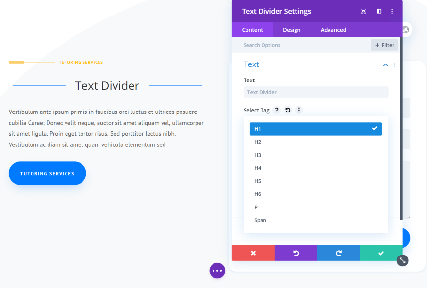Divi Next Texts Text Divider