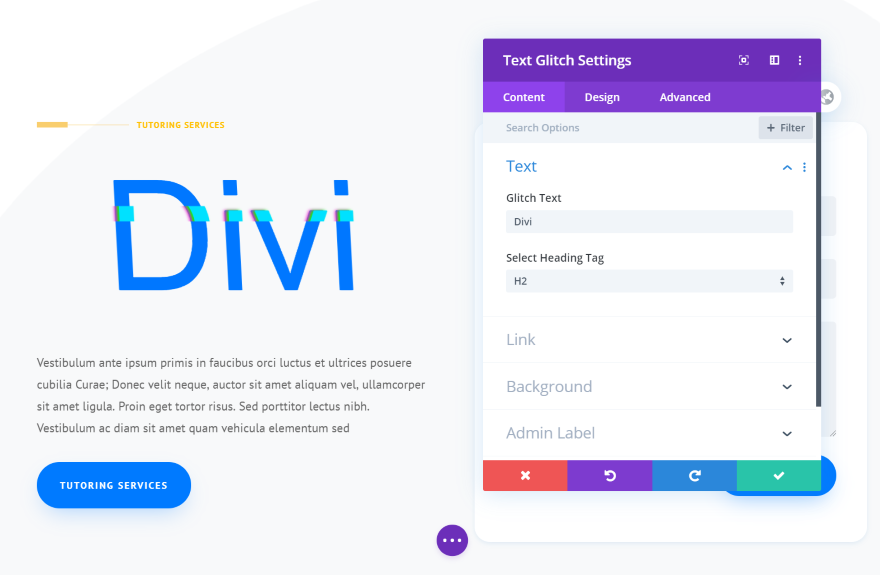 Divi Next Texts Text Glitch