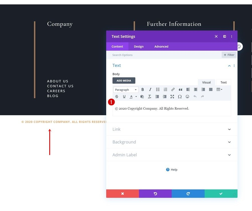 header & footer template for Divi's Leather Company Layout Pack