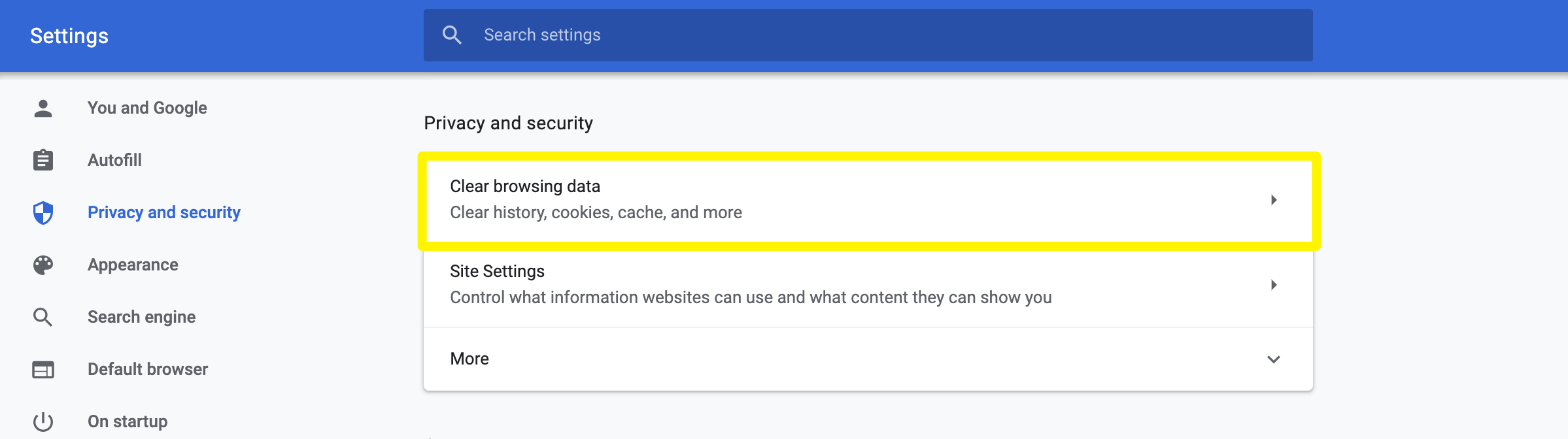The Chrome Clear browsing data setting.
