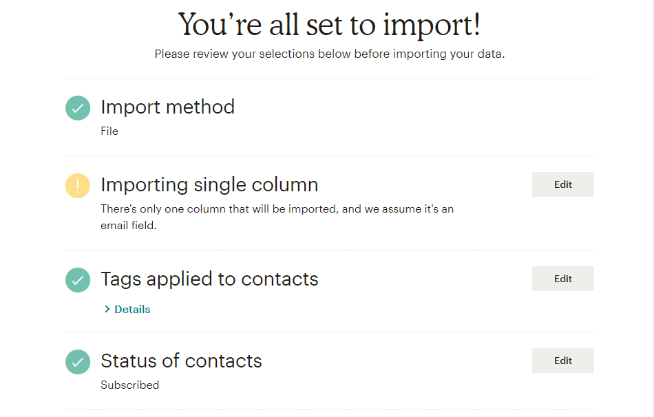 Confirm your import settings.