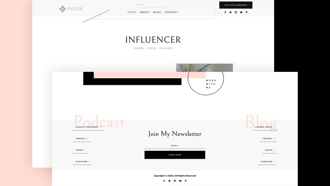 Get a FREE Global Header & Footer Template for Divi's Influencer Layout Pack