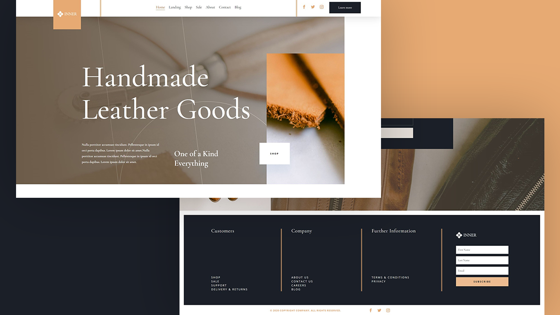 Get a FREE Global Header & Footer Template for Divi's Leather Company Layout Pack