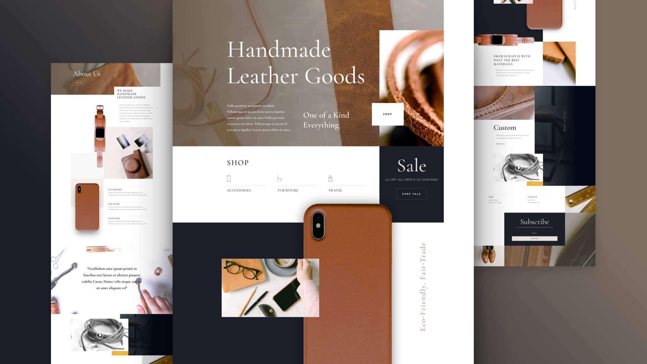 Get a FREE Leather Company Layout Pack for Divi