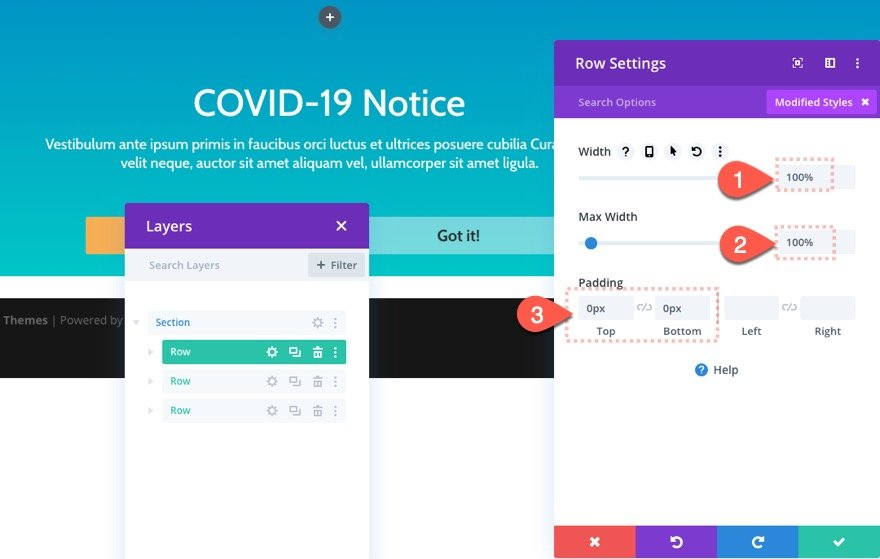 divi notification box