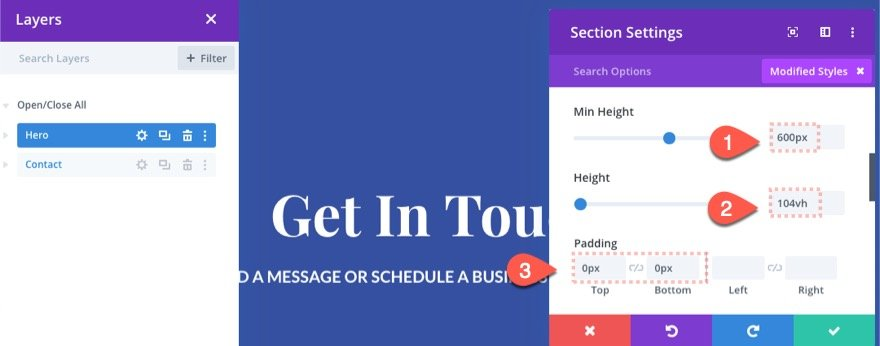 fullscreen contact form