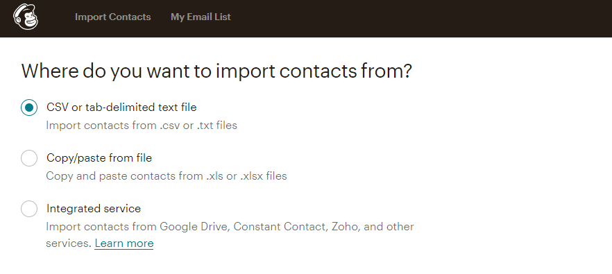 Importing email contacts using a csv file.