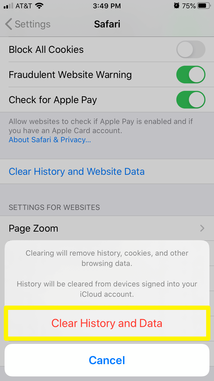 Confirmation to clear browser cache in Safari on an iPhone.