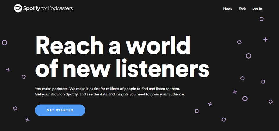 spotify for podcasters homepage