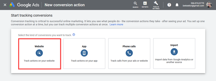 google ads website conversion