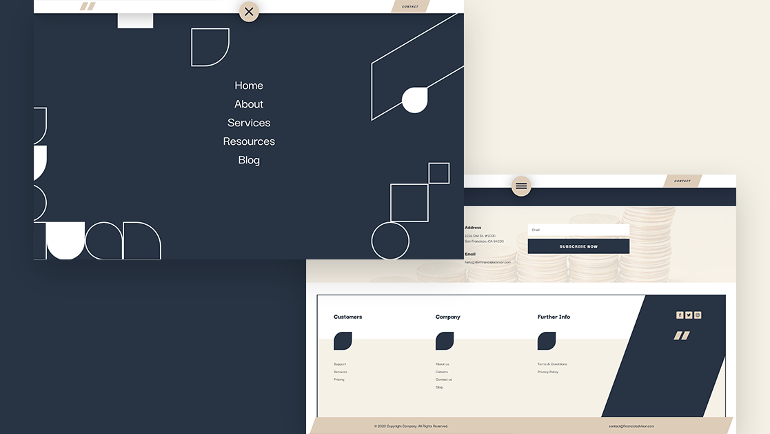 Download a FREE Header & Footer Template for the Financial Advisor Layout Pack