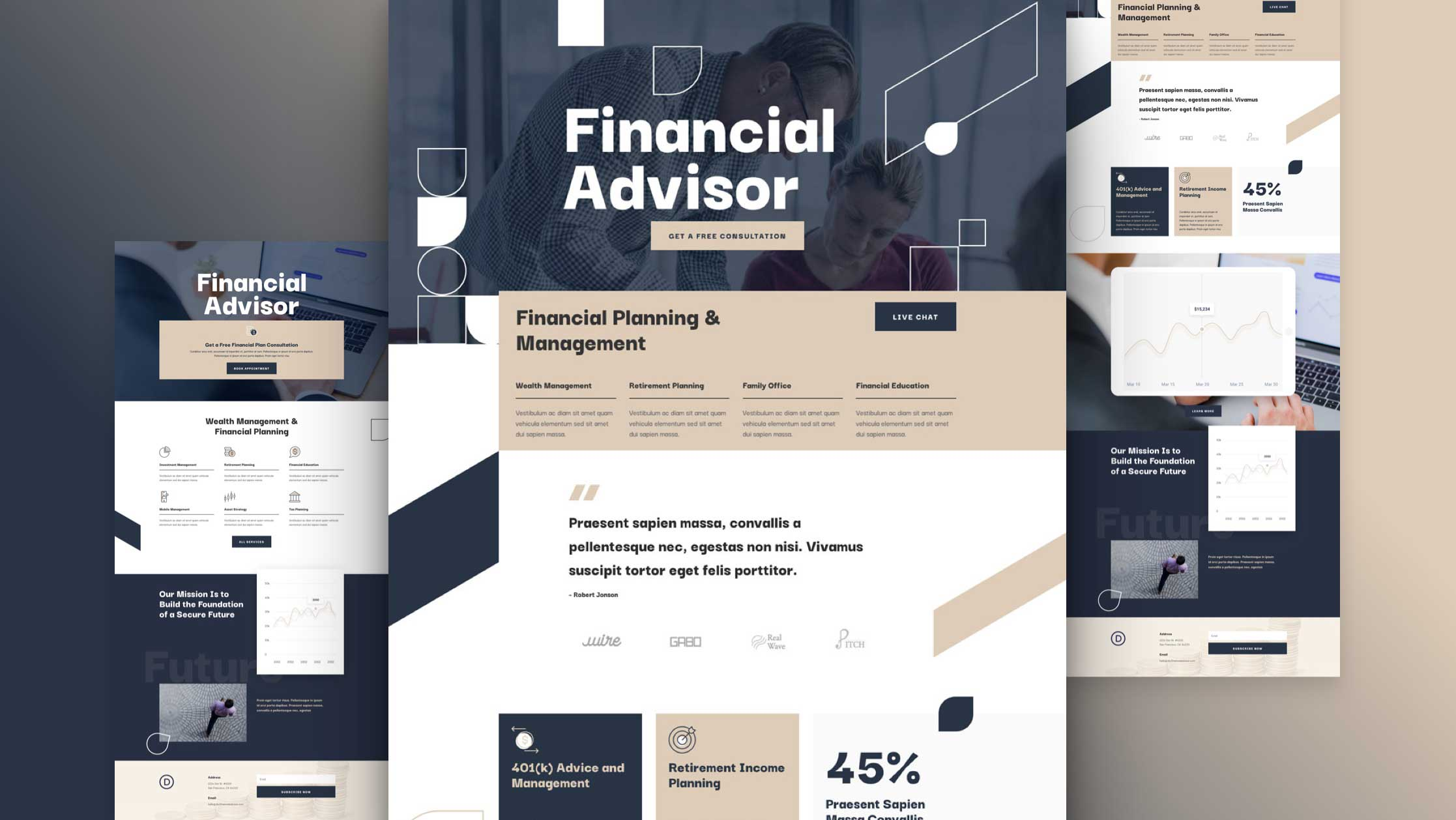 Get a FREE Financial Advisor Layout Pack for Divi