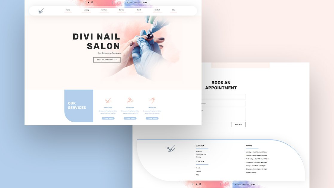 Get a FREE Header & Footer Template for Divi's Nail Salon Layout Pack