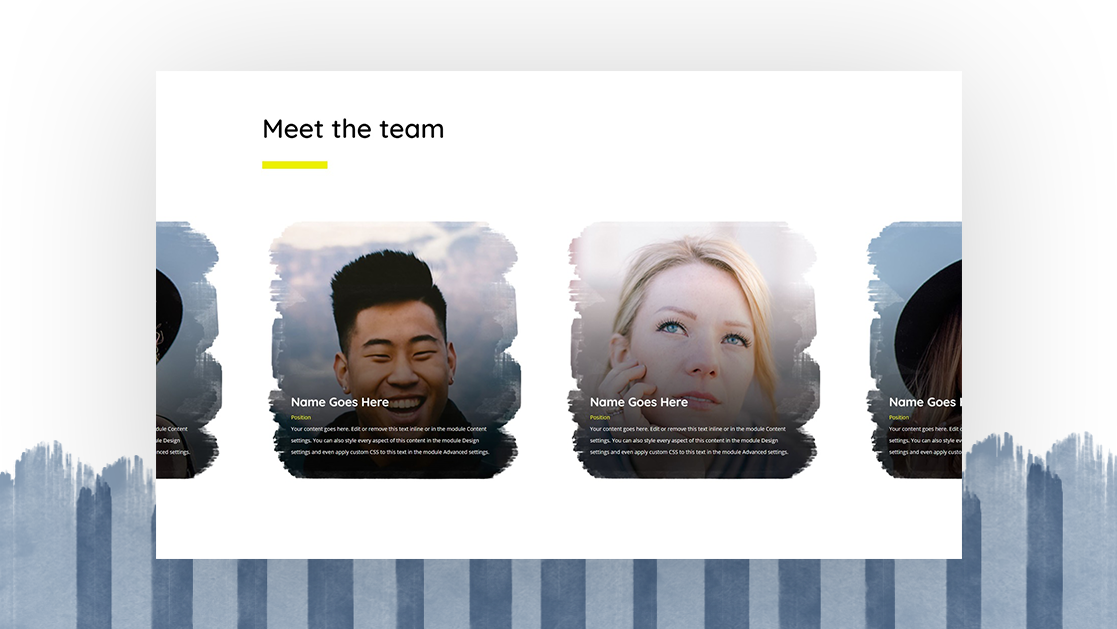 Download a FREE Self-Scrolling Team Members Carousel Made with Divi's Scroll Effects