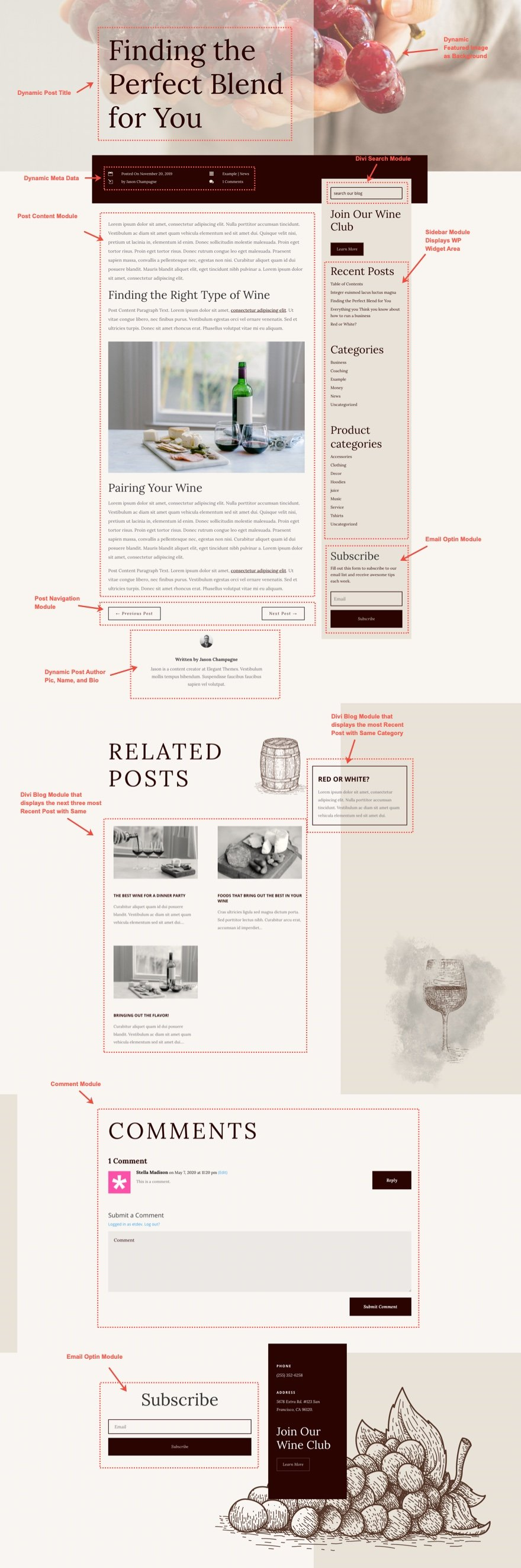 divi winery blog post template