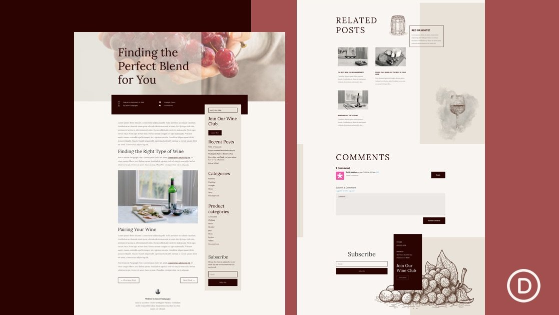 Get a FREE Blog Post Template for Divi's Winery Layout Pack
