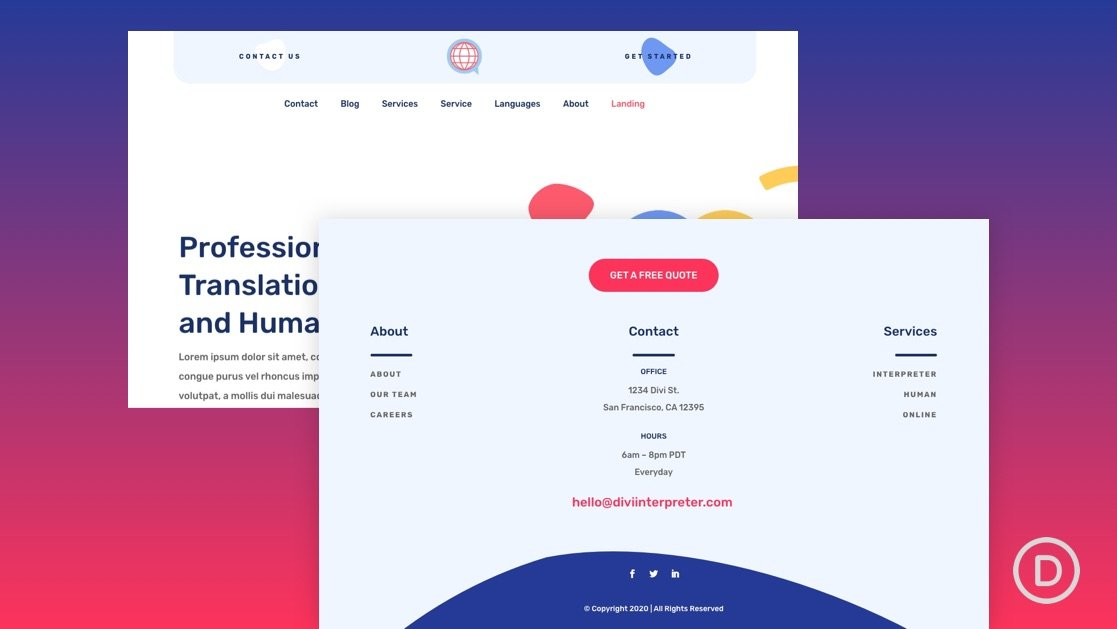 Get a FREE Header & Footer Template for Divi's Interpreter Layout Pack