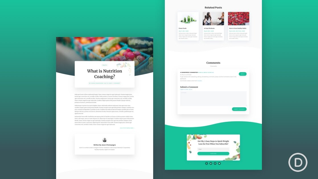 Get a FREE Blog Post Template for Divi's Nutritionist Layout Pack