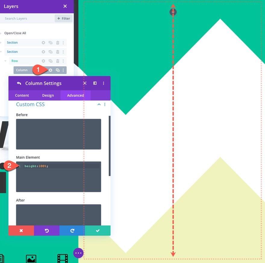 diseño de pantalla dividida completa con conmutadores personalizados
