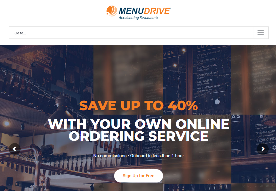 The MenuDrive homepage.